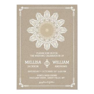 "Lace Sunflower Wedding Invitation 5"" X 7"" Invitation Card"
