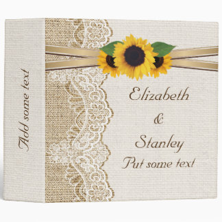 Lace sunflowers and burlap wedding planner binder