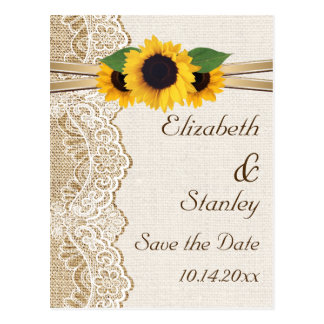 Lace, sunflowers and burlap wedding Save the Date Postcard