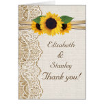 Lace, sunflowers and burlap wedding Thank You Stationery Note Card
