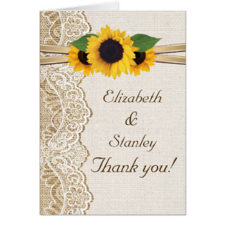 Lace, sunflowers and burlap wedding Thank You Card