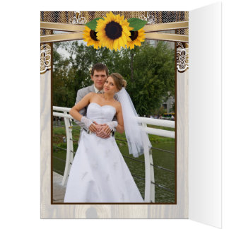Lace, sunflowers and wood wedding Thank You Stationery Note Card