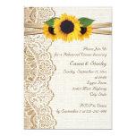 Lace, sunflowers & burlap wedding rehearsal dinner card