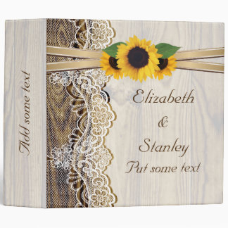 Lace & sunflowers on and wood wedding planner binder
