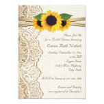 Lace & sunflowers on burlap wedding bridal shower 5x7 paper invitation card