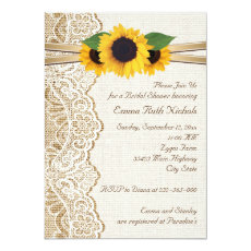 Lace & sunflowers on burlap wedding bridal shower 5