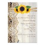 Lace & sunflowers on wood wedding rehearsal dinner card