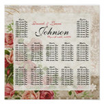 Lace Swirl Tea Rose Vintage - Table Seating Chart Poster