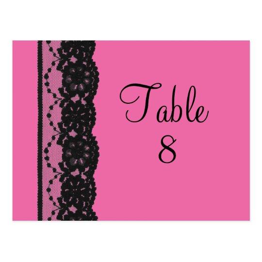 Lace Table Numer Postcard (fuchsia)