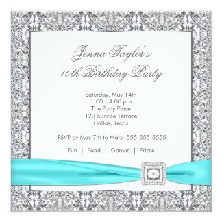 Lace Teal Blue Diamond Girls10th Birthday Party 5.25x5.25 Square Paper Invitation Card