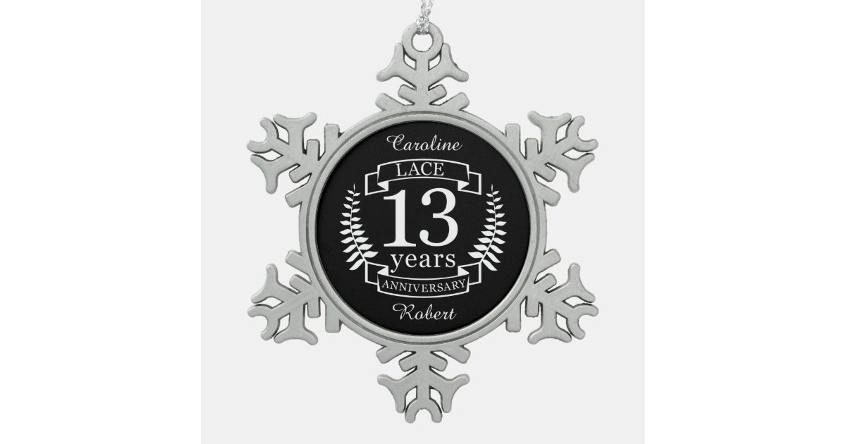 Lace Traditional Wedding Anniversary 13 Years Snowflake Pewter