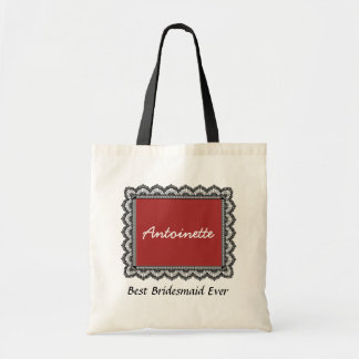 Lace Trimmed Custom Name Sentiment V06 Tote Bag