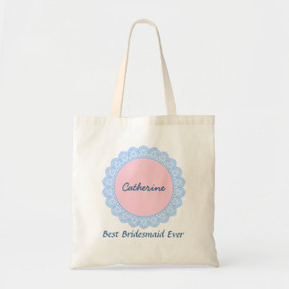 Lace Trimmed Custom Name Sentiment V16 Tote Bag
