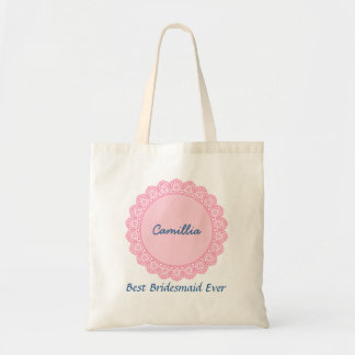 Lace Trimmed Custom Name Sentiment V17 Tote Bag