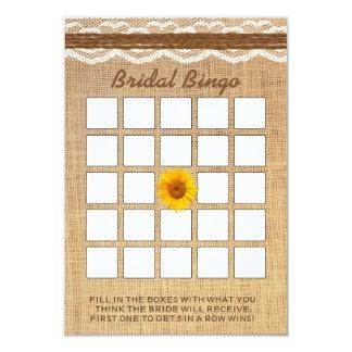 Lace & Twine Sunflower Burlap Bridal Shower Bingo Card
