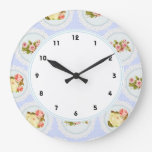 Lace Victorian Floral shabby chic blue wall clock