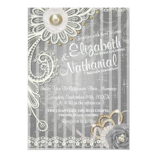 Lace Victorian Scrapbook Cover Wedding Invitation
