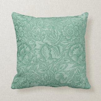 Lace Wallpaper Green Throw Pillows