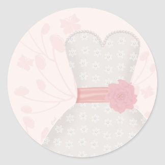 Lace Wedding Gown and Butterfly Classic Round Sticker