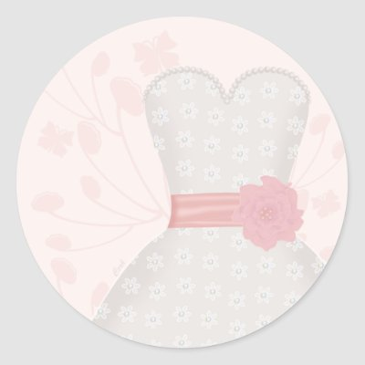 Lace Wedding Gown and Butterfly Round Stickers by BeMyBridesmaid