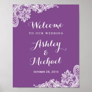 Lace Wedding Reception Sign | Trendy Violet Purple Poster