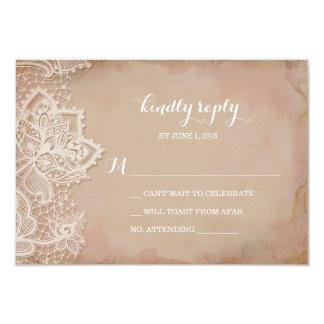 Lace Wedding RSVP Postcard - Vintage Pink