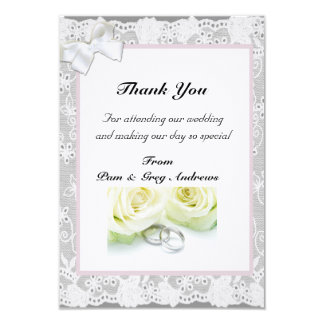 Lace Wedding thank You Card