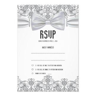 Lace White Bow Damask RSVP Card