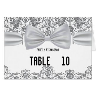Lace White Bow Damask Wedding Table Numbers Card