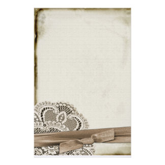 Lace With Ribbon Stationery