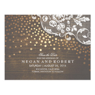 Lace Wood and Gold Confetti Rustic Save the Date Postcard