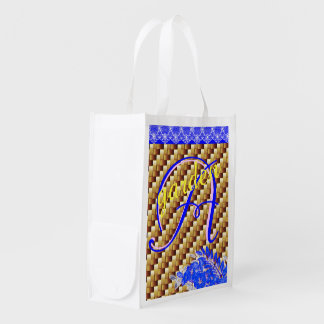 lace wood baskett two-tone initial Reusable Bag Reusable Grocery Bags