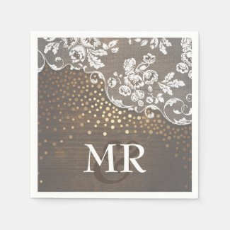 Lace Wood Gold Confetti Rustic Country Paper Napkin
