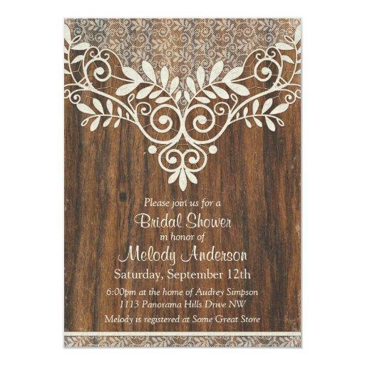 "Lace Wood Rustic Vintage Ivory Bridal Shower 4.5"" X 6.25"" Invitation Card"