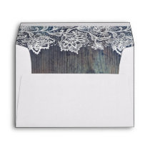 Lace Wood Rustic Vintage Wedding Envelope