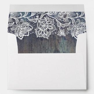 Lace Wood Rustic Vintage Wedding Envelope
