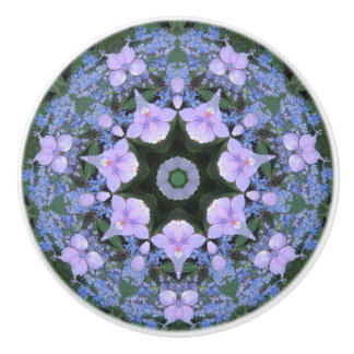 Lacecap Hydrangea Ceramic Knob