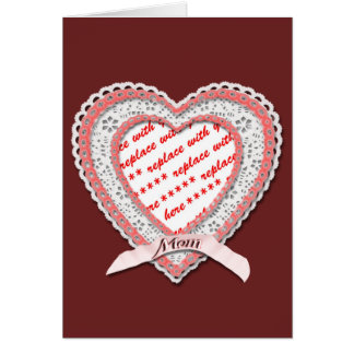 Laced Heart For Mother's Day Photo Frame Card