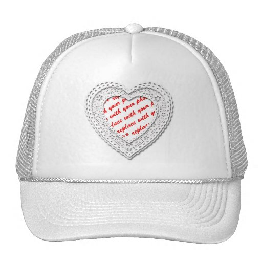 Laced Heart Photo Frame Template Trucker Hats