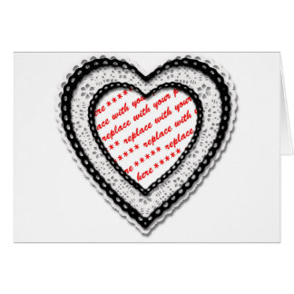 Laced Heart Shaped Photo Frame Greeting Card