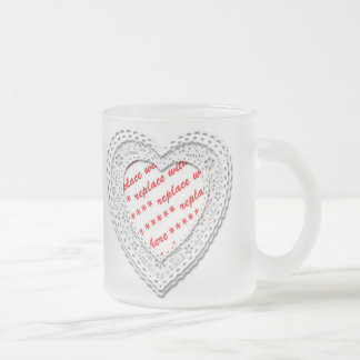 Laced Heart Shaped Photo Frame Frosted Glass Coffee Mug