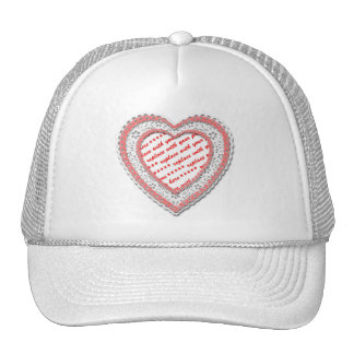 Laced Heart Shaped Photo Frame Mesh Hat