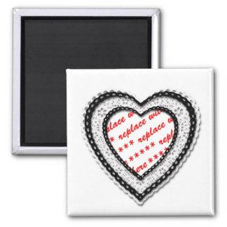Laced Heart Shaped Photo Frame 2 Inch Square Magnet