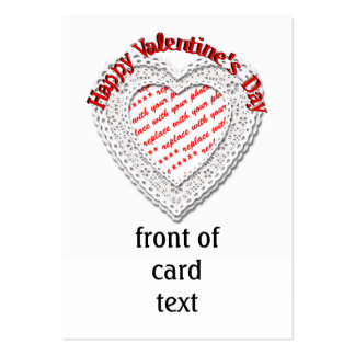 Laced Heart Shaped Photo Frame Valentine Business Cards