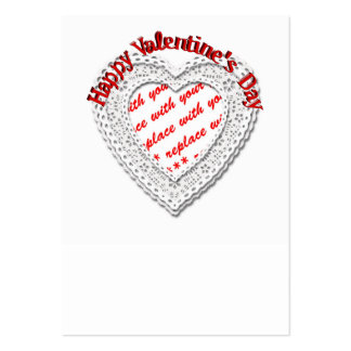 Laced Heart Shaped Valentine Photo Frame Business Card Template