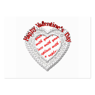 Laced Heart Shaped Valentine Photo Frame Business Card