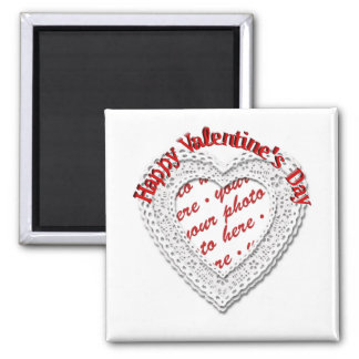 Laced Heart Shaped Valentine Photo Frame Refrigerator Magnets
