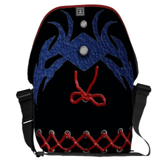 """""""laced up"""" black and blue courier bags"""