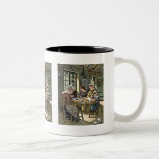 Lacemaking Vintage Illustration Two-Tone Coffee Mug