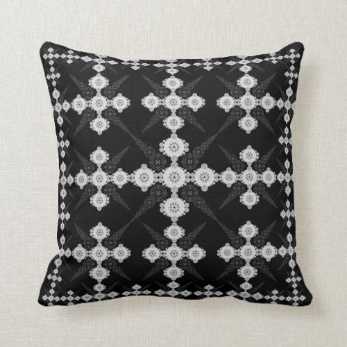 Lacey Black White Crop Circle Throw Pillow